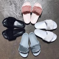 Wholesale With Original box dust bag Leadcat Fenty Rihanna Shoes Women Slippers Indoor Sandals Girls Fashion Scuffs Pink Black White Grey colors