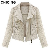beige cropped jacket - CHICING Long Sleeves Hollow Lace New Autumn Winter Fashion Beige Black Crop Casual Jacket Outerwear Plus Size S XL B1563922