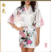 bathrobe belt - Purple Fashion Women s Peacock Kimono Bath Robe Nightgown Gown Yukata Bathrobe Sleepwear With Belt S M L XL XXL XXXL KQ