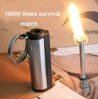 Wholesale emergency match box times outdoor survival rod lighter flint stone fire starter Stainless steel H210573