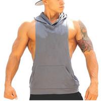 Wholesale Stringer Hoodies Muscle Shirt Bodybuilding Clothing Gym Tank Hoodies Brand ZYZZ GASP Fitness Men Sleeveless Sports Sweatshirts