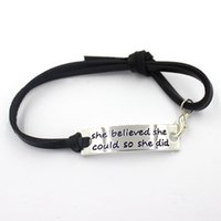 believe quotes - cm inspiration quote she believed she could so she did black leather bracelet bangles
