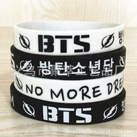 Wholesale Kpop BTS Bracelet New Bangtan Boys Silicone Bracelet Cute Wristband Bangles k pop BTS Bulletproof juvenile Silicone Bangles
