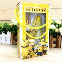 Wholesale Cartoon Frozen Pony Minion Stationery Set Students kids gift With Pen container Ruler Eraser portablebox packed