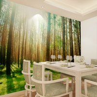 Wholesale Green woods Nature Plants nonwoven modern large bedroom TV background wallpaper the living room suitable for a restaurant