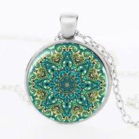 animal symbols buddhism - Vintage henna hand pendant necklaces jewelry india yoga lotus bloom necklace jewelry Buddhism mandala om symbol jewelry