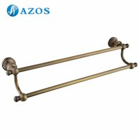 Wholesale AZOS Wall Mounted Two Towel Bars Bathroom Accessories Toilet Furnitures Antique Brass Color GJKE5009D N