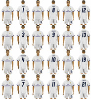 Wholesale 16 Real Madrid Jerseys RONALDO Home White JAMES BALE RAMOS ISCO MODRIC Spain Men s Soccer Suit Real Madrid Soccer Jersey