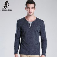best mens printed shirts - Pioneer Camp spring new men t shirt long sleeve v neck casual mens t shirt breathable slim men s tshirt soft Best GIft