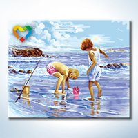 beach canvas art - Beach Playing Wall Art DIY Painting Baby Toys x50cm Artistical Canvas Oil Painting Drawing Wall Art for Children with SGS PONY CNAS