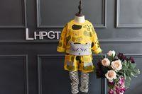 american girl products - New product Autumn Korean Girl Cartoon animal Sweater T shirt stripe False two pants leggings Children Set Kids Suit Outfits Lovekiss C29695