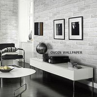 Wholesale 10m White Grey Real Looking Deep Embossed Textured D Brick Pattern Wallpaper Roll Modern Designer Wallcovering for Living Room Hotels Bars