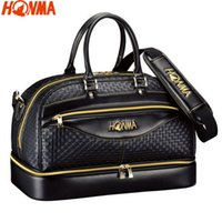 Wholesale NEW HONMA Golf Boston Bag Men Woven PU Leather Clothes Duffel Bag for Golf Shoes Bag black and brown colors