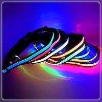 Wholesale Fashion LED light waist belt PU fiber bright fish wire mesh webbing buckle adjust buckle