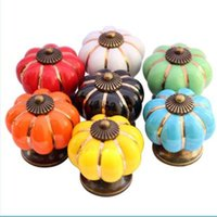 Wholesale Pumpkins Knobs Europe Ceramic Door Cabinet Cupboard Handles Pull Drawer