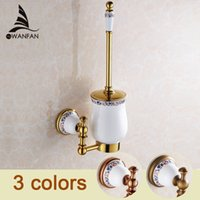 Wholesale Luxury Toilet Brush Holder Golden Finishing Solid Brass Base Glass Cup Cleaning Brush Set XL