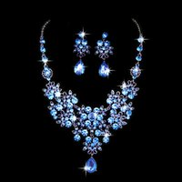 Wholesale 2016 New Fashionable Jewelry Beautiful Butterfly Big Water Drop Wedding Jewelry Set Shiny Crystal Marriage Necklace Earring Suit