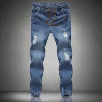 Wholesale 2016 Denim Men s Jeans Pant Male Straight Regular Jeans Casual Long Full length Solid cowboy Pants Trousers Slim Bottom HY449
