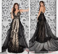Wholesale Glamorous Mermaid Evening Gowns Pageant Dresses with Speghetti Straps Sexy Deep V Neck Beaded Lace Appliques Prom Dress Backless