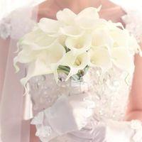 Ручной Real сенсорный белый Калла Свадебный букет невесты наручные Man Грум Бутоньерка корсаж цветок невесты Украшение