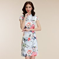 Wholesale 2016 New Arrival Beautyful Chinese Style Sheath Mini Dress for Prom Party or Wedding Party Rose Flower Printing Short Sleeve Satin Gown
