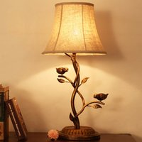 Wholesale led desk lamp desk lights table lighting vintage european american style country bird desk lamps bedroom lamp V V CE ROHS