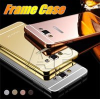 Wholesale 2 in Metal Bumper Case with Electroplating Acrylic Mirror Back Cover Case For Iphone S Plus SE Samsung S7 Galaxy S7 Edge