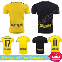 Wholesale Top Quality REUS Jerseys New Dortmunder Football Trikot Home AUBAMEYANG REUS RAMOS Camisa Bumblebee football Shirt