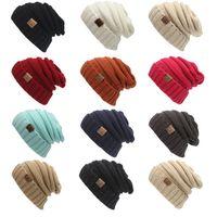sombrero de invierno nueva moda unisex de la gorrita tejida caliente fornida de gran tamaño suave de gran tamaño Cable de punto Beanie Slouchy de 12 colores