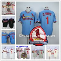 base creams - Ozzie Smith Jersey St Louis Cardinals Baseball Jerseys Cooperstown Vintage Flexbase Cool Base Pullover Button White Grey Blue Red Cream