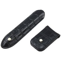 Wholesale Vintage Leather Pencil Pen Holder Clip Carry Case Bookmark Clips ang Leather bag