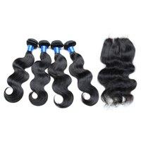 Wholesale Brazilian Hair Bundles With Closure Unprocessed Body Wave Hair Weaves Bundles With Lace Closure x4 Natural Color Black b Dyeable