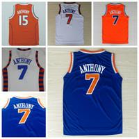 Wholesale Best Quality Carmelo Anthony Jerseys Uniforms SYRACUSE Carmelo Anthony College Shirt Throwback Christmas Home Blue White Orange
