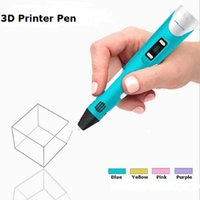 Wholesale Newest nd GEN D Printing Pen Crafting Modeling PLA Filament Arts Drawing LED Display Magic Pen Gift