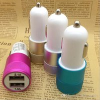 Wholesale Metal Dual USB Port Car Charger light up car adapter Universal use for Apple iPhone iPad iPod Samsung Galaxy Motorola Android Nokia
