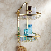 Wholesale New designed European style luxury brass golden bathroom rack shelf triangle basket bathroom shelf