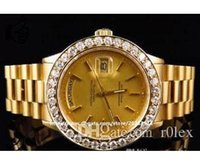 Wholesale LUXURY BRAND NEW Automatic k Yellow Gold Men MM President Day D te Diamond Mens Watch Men s Watches