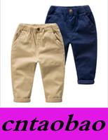 Wholesale Children Kids cotton leisure trousers autumn New Style khaki Navy colors Fast Ship suit for T Freeship