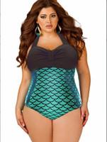 beautiful fat - Beach Cnlumy S108 L XL extra plus size fat big beautiful women sexy mermaid print bikini one piece swimsuit Conservative swimwear