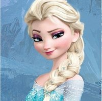 Wholesale Hot Princess Frozen Snow Queen Elsa Weaving Braid Light Blonde Cosplay Wig Children Adult Snow Queen Gold Long wigs Gift
