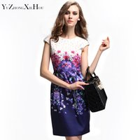 beading websites - Europe Lavender printing dress spring new European and American brands official website star with big yards women dress