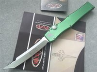 Wholesale Microtech Halo V Tanto Knife T E Green quot Satin OD CNC D2 steel blade Machined aluminum handle Single action Pocket knives