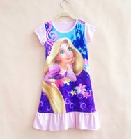 baby girl nightwear - New Baby Girls Kids Little Long Hair Princes Dresses Pyjamas Nightdress Nightie Nightwear Summer Children Short Cotton Clothing GD A06