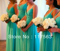 beautiful corals - Beautiful a line v neck spaghetti strap floor length long chiffon turquoise bridesmaid dress brides maid dress