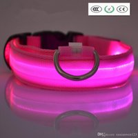 Wholesale LED Nylon Pet Dog Cat Collar Night Safety LED Light up Flashing Glow in the Dark Lighted Dog Collars