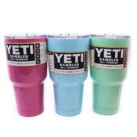 Wholesale High quality Coated oz Yeti Rambler YETI Coolers Rambler Tumbler Stainless Steel Pink Double Walled Travel Mug Pink YETI cups