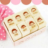 Wholesale New Lovely Girl Wooden Schedule Stamp Set DIY Funny Work Weekly Diary Stamp Labels Indexes Stamps H0911