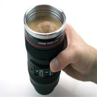 Wholesale 304 Stainless Steel Vacuum Coffee Cup ml Self Stirring Mug Flask Lens Lid Thermos Camera Lens Mug as Canon Milk Tea Water