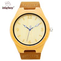 bamboo buckles - iBigboy Chinese Style Yellow Bamboo Wooden Wrist Watches Quartz Movement Leather Strap Men Women Watches IB Ad