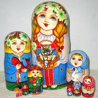 Wholesale Russian dolls oil paint commercial quality gift animal cat
